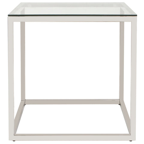 Square Stainless Steel End Table in Silver