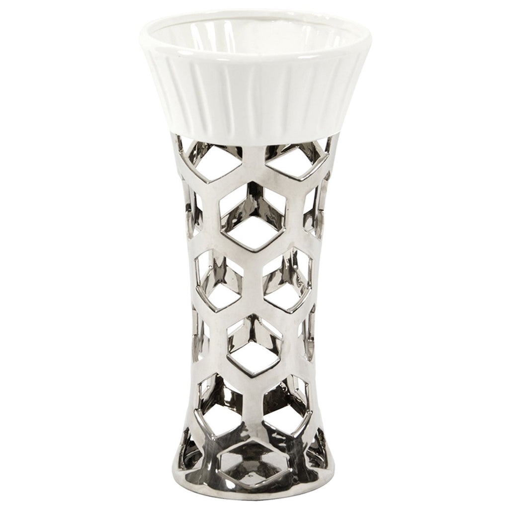Vase with Hexagon Cut Outs in Silver and White