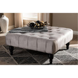 Baxton Studio Keswick Slate Grey Velvet Fabric Button Tufted Cocktail Ottoman