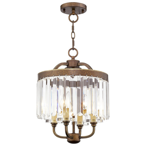 Ashton 4-Light Hand Painted Palacial Bronze Convertible Mini Chandelier/Ceiling Mount