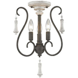 Porto Cristo 3-Light Chandelier in Palermo Rust with Birch Accents