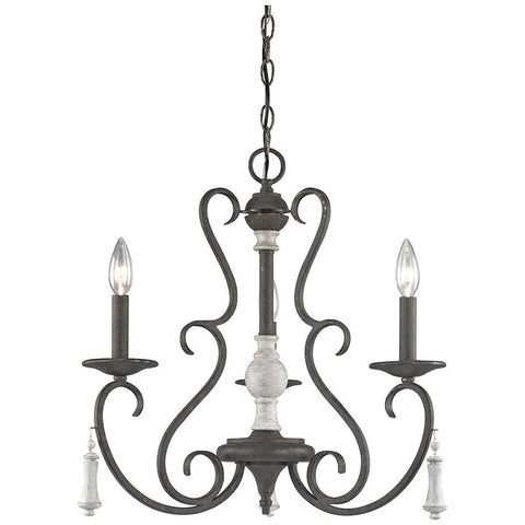 Porto Cristo 3-Light Palermo Rust Chandelier with Birch Accents