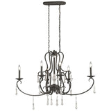 Porto Cristo 6-Light Chandelier in Palermo Rust with Birch Accents