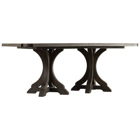 Corsica Dark Wood Rectangle Pedestal Dining Table