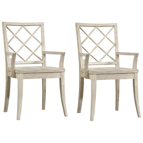 Sunset Point X Back Arm Chair in Hatteras White, Set of 2