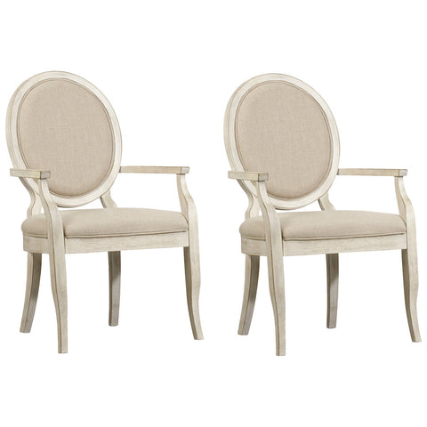 Sunset Point Upholstered Arm Chair in White, Set of 2