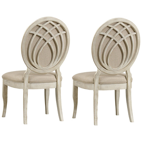 Sunset Point Upholstered Side Chair in White, Set of 2