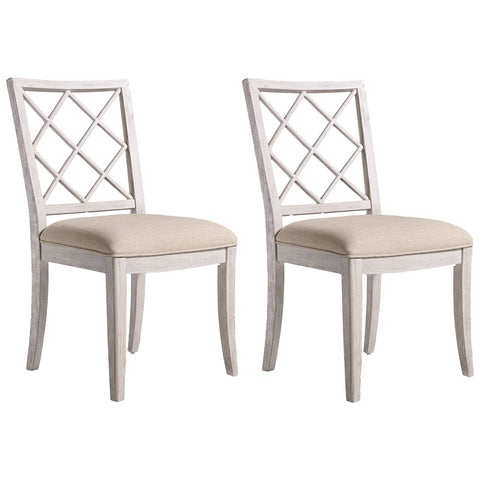 Sunset Point Upholstered X-Back Side Chair in White, Set of 2