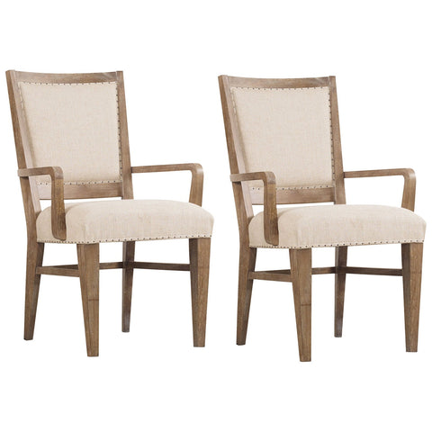 Studio 7H Stool Upholstered Arm Chair in Light Wood, Set of 2