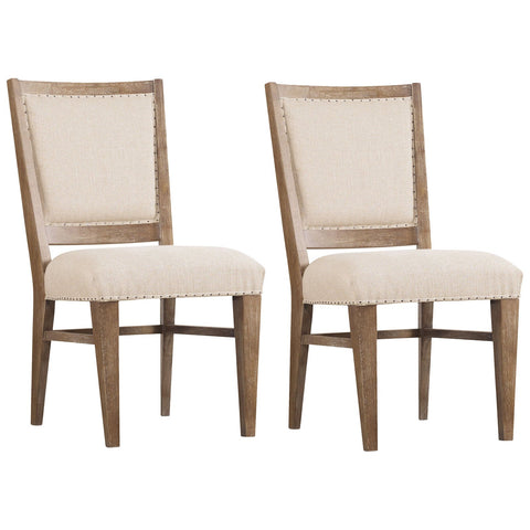 Studio 7H Stool Upholstered Side Chair in Light Wood, Set of 2