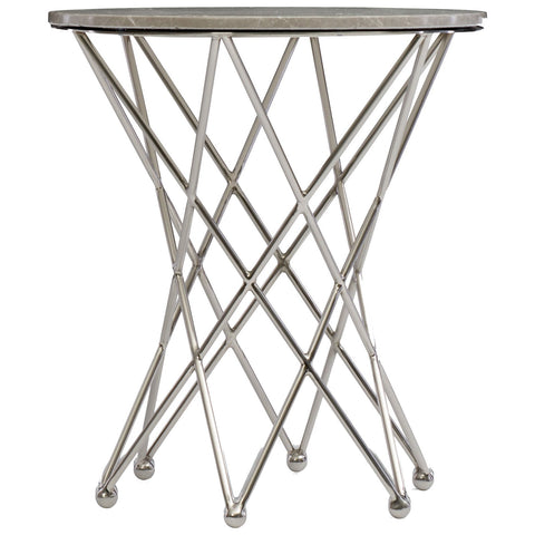 East Village Round End Table in Silver