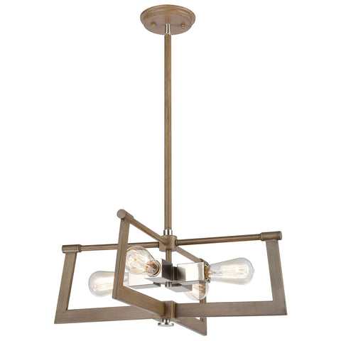 Axis 21W x 21D x 8H 4-Light Pendant in Light Wood