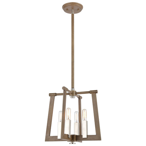 Axis 13W x 13D x 12H 4-Light Pendant in Light Wood