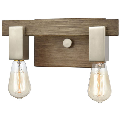 Axis 2-Light Vanity Light in Light Wood and Satin Nickel