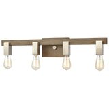 Axis 4-Light Vanity Light in Light Wood and Satin Nickel