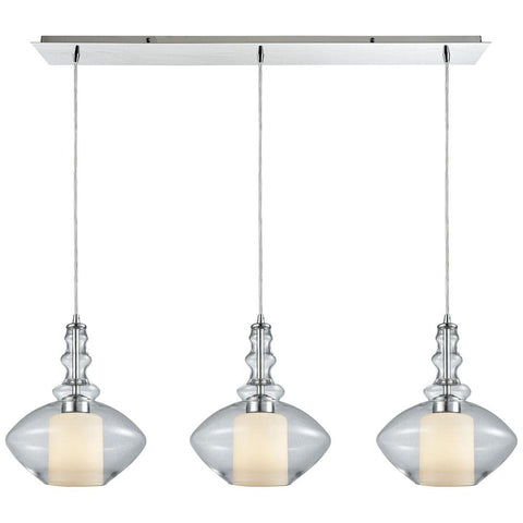 Alora 3-Light Linear Pan Pendant in Polished Chrome with Opal White Glass