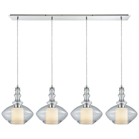 Alora 4-Light Linear Pan Pendant in Polished Chrome with Opal White Glass