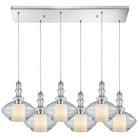 Alora 6-Light Rectangle Pendant in Polished Chrome with Opal White Glass