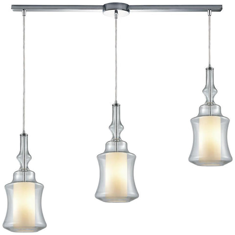 Alora 3-Light Linear Bar Pendant in Polished Chrome with Opal White Glass inside