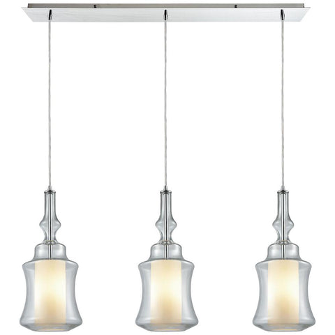 Alora 3-Light Linear Pan Pendant in Polished Chrome with Opal White Glass inside