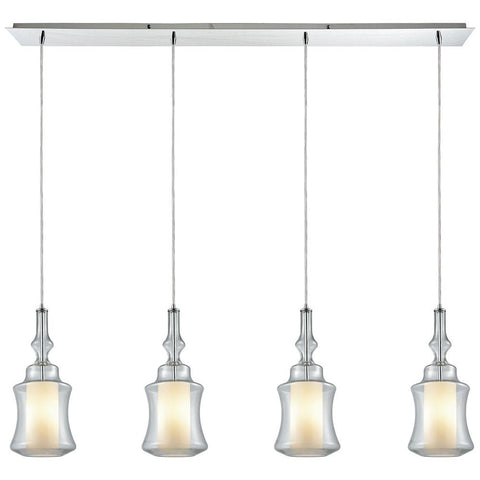 Alora 4-Light Linear Pan Pendant in Polished Chrome with Opal White Glass inside