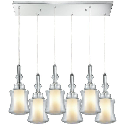 Alora 6-Light Rectangle Pendant in Polished Chrome with Opal White Glass inside