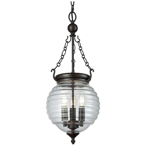 Crosswell 3-Light Chandelier in Oil Rubbed Bronze with Clear Beehive Glass