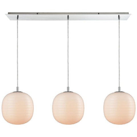 Beehive 3-Light Polished Chrome Linear Pan Pendant with Opal White Beehive Glass