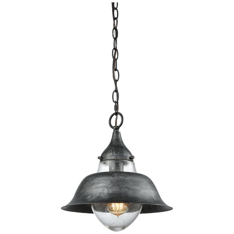 Stratham 1-Light Pendant in Silvered Graphite with Seedy Glass
