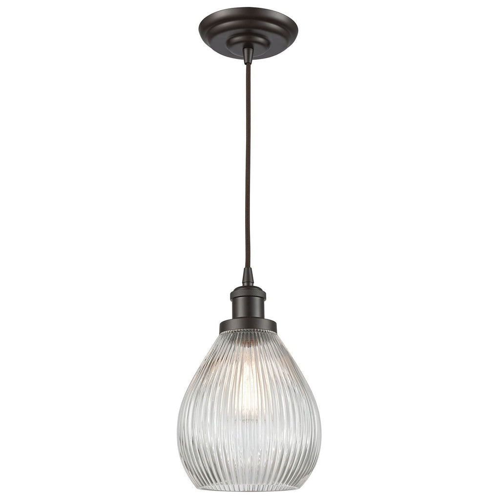 Jackson 1-Light Mini Pendant in Oil Rubbed Bronze with Clear Ribbed Glass