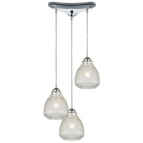 Victoriana 12W x 12D x 10H 3-Light Triangular Pendant in Polished Chrome