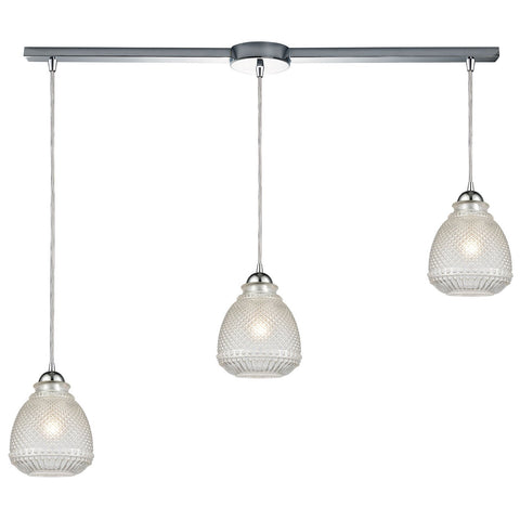 Victoriana 38W x 7D x 10H 3-Light Linear Mini Pendant in Polished Chrome