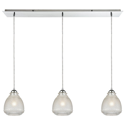 Victoriana 36W x 7D x 10H 3-Light Linear Mini Pendant in Polished Chrome