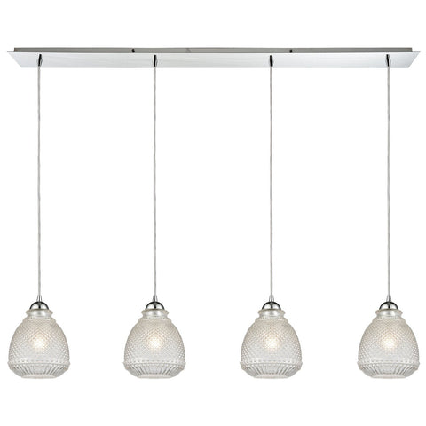 Victoriana 46W x 7D x 10H 4-Light Linear Pendant Fixture in Polished Chrome