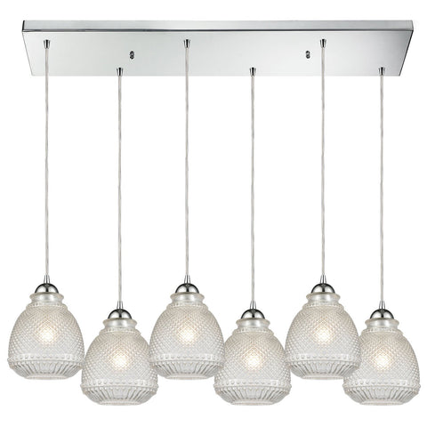 Victoriana 32W x 12D x 10H 6-Light Rectangular Pendant in Polished Chrome