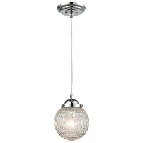 Victoriana 1-Light Mini Pendant in Polished Chrome with Clear Patterned Glass