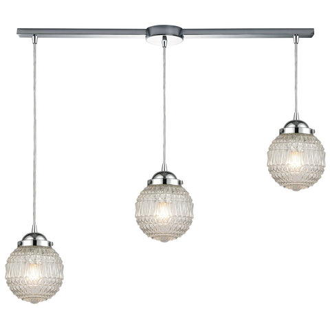 Victoriana 38W x 6D x 8H 3-Light Linear Mini Pendant in Polished Chrome