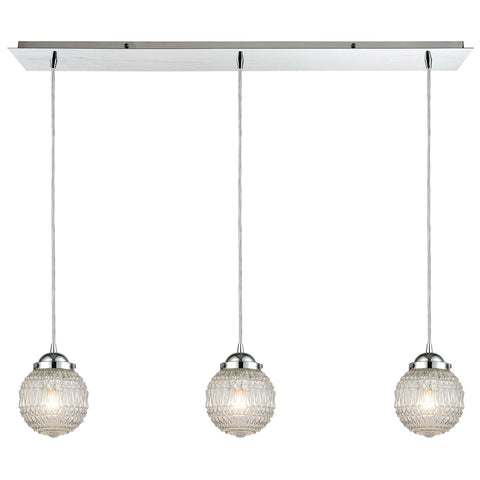 Victoriana 3-Light Linear Mini Pendant Fixture in Polished Chrome