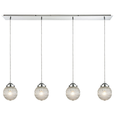 Victoriana 4-Light Linear Pendant Fixture in Polished Chrome
