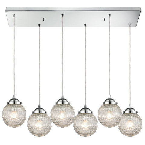 Victoriana 6-Light Rectangular Pendant Fixture in Polished Chrome