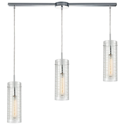 Swirl 38W x 5D x 14H 3-Light Linear Mini Pendant Fixture in Polished Chrome
