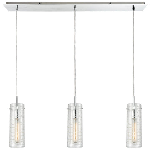 Swirl 3-Light Linear Mini Pendant Fixture in Polished Chrome