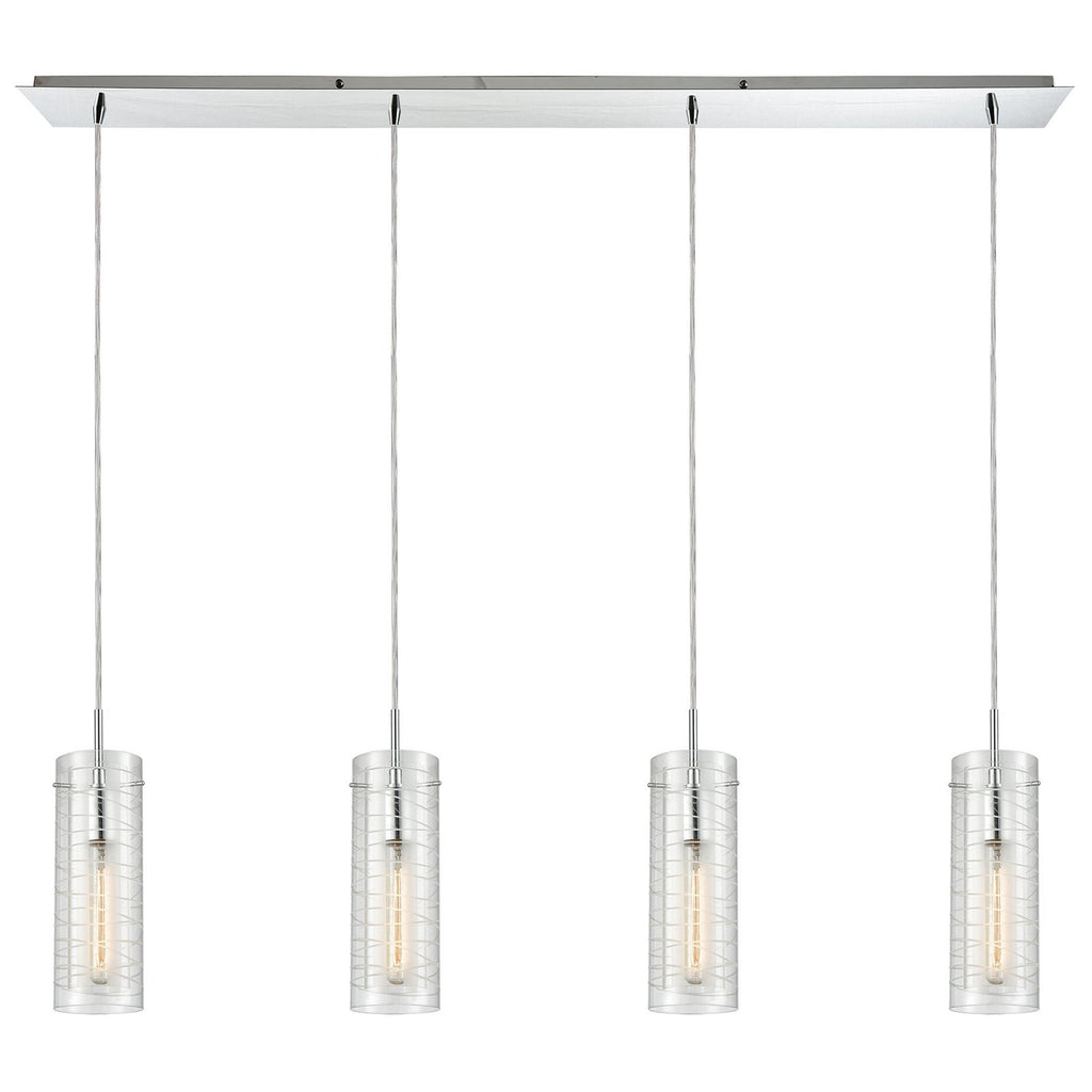 Swirl 4-Light Linear Pendant Fixture in Polished Chrome