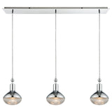 Ravette 3-Light Linear Mini Pendant Fixture in Polished Chrome