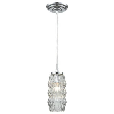 Zigzag 1-Light Mini Pendant in Polished Chrome with Clear Patterned Glass