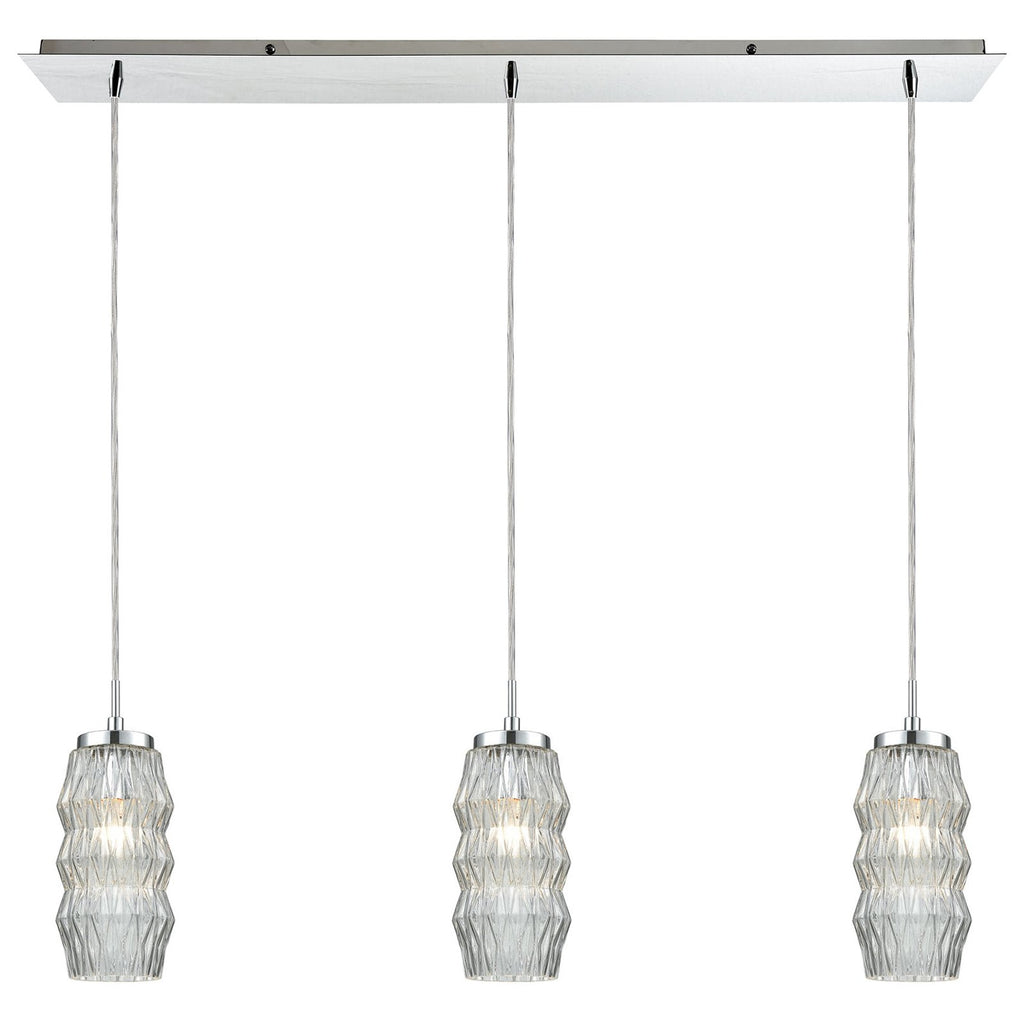 Zigzag 3-Light Linear Mini Pendant Fixture in Polished Chrome