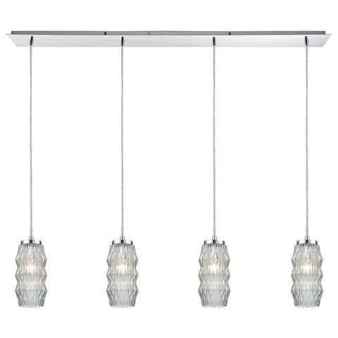 Zigzag 4-Light Linear Pendant Fixture in Polished Chrome