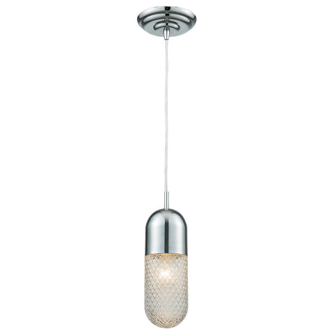 Capsula 1-Light Mini Pendant in Polished Chrome with Clear Textured Glass