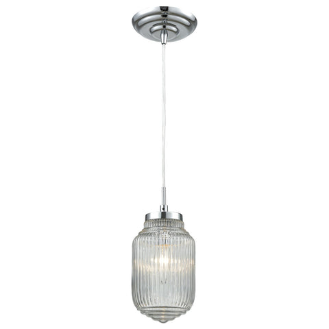 Dubois 1-Light Mini Pendant with Clear Ribbed Glass