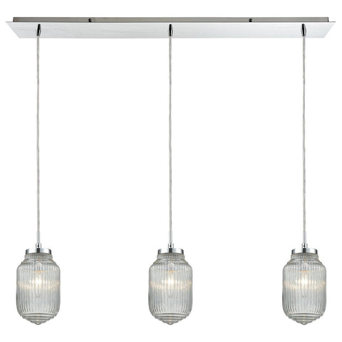 Dubois 3-Light Linear Pendant Fixture in Polished Chrome